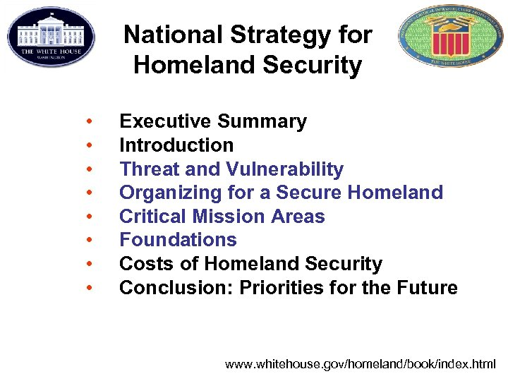 National Strategy for Homeland Security • • Executive Summary Introduction Threat and Vulnerability Organizing