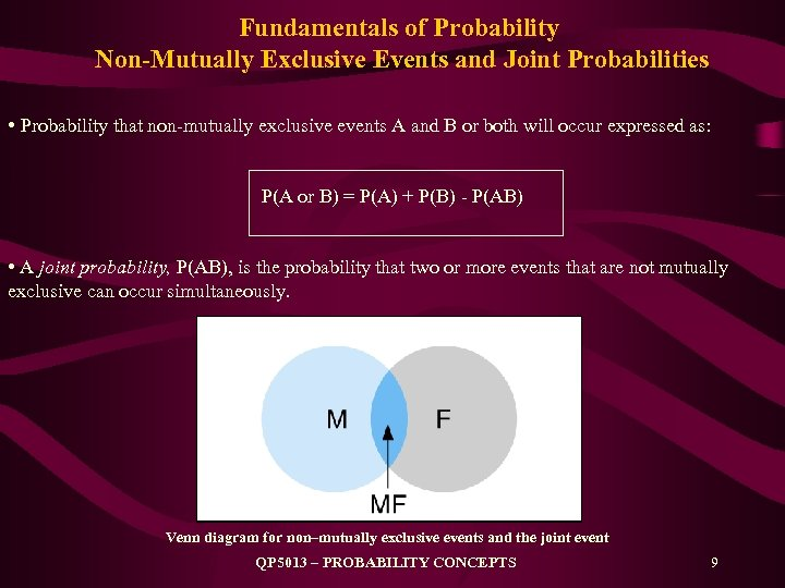 Fundamentals of Probability Non-Mutually Exclusive Events and Joint Probabilities • Probability that non-mutually exclusive