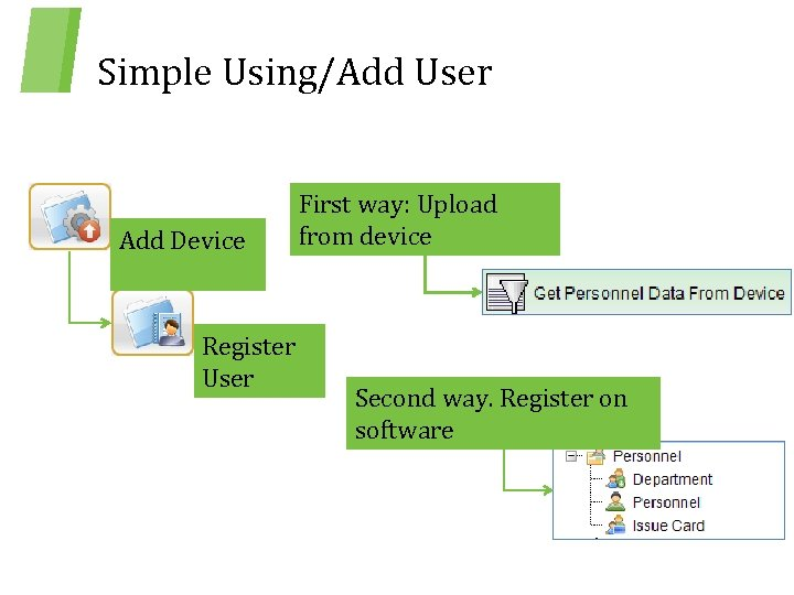 Simple Using/Add User Add Device Register User First way: Upload from device Second way.