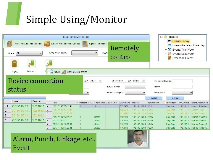 Simple Using/Monitor Remotely control Device connection status Alarm, Punch, Linkage, etc. . Event