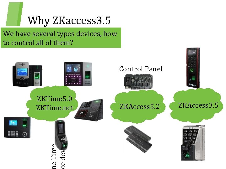 Why ZKaccess 3. 5 We have several types devices, how to control all of