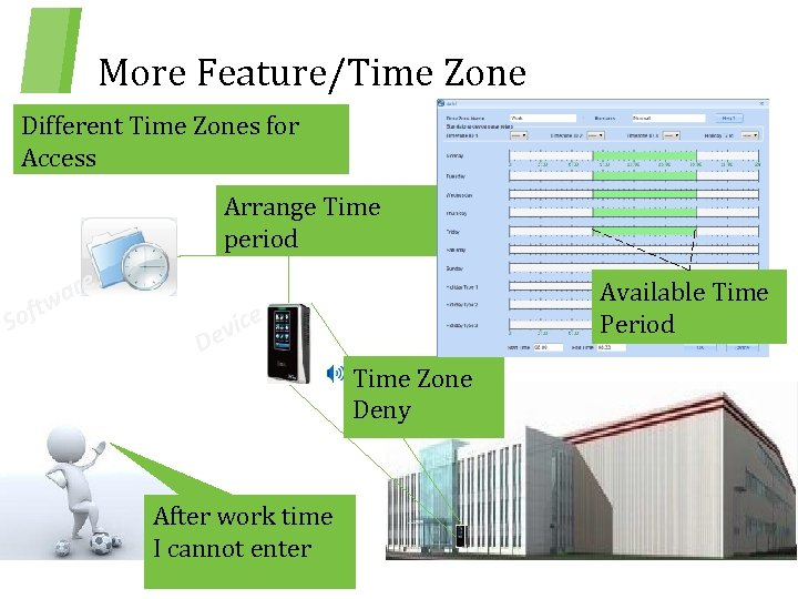 More Feature/Time Zone Different Time Zones for Access Arrange Time period Sof t are