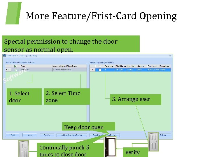 More Feature/Frist-Card Opening Special permission to change the door sensor as normal open. are