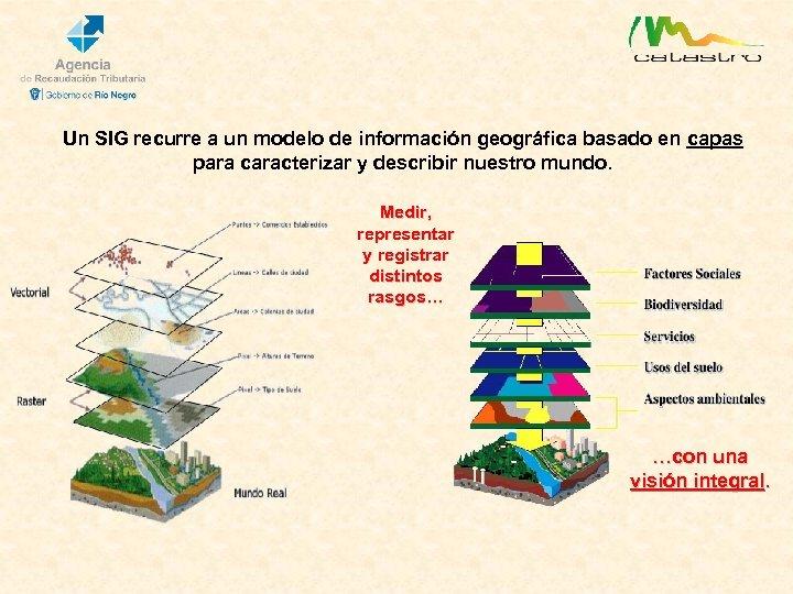 Un SIG recurre a un modelo de información geográfica basado en capas para caracterizar