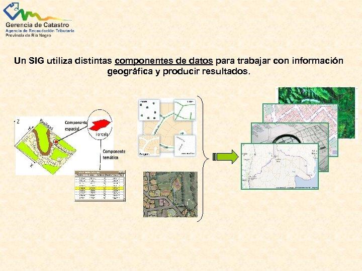 Un SIG utiliza distintas componentes de datos para trabajar con información geográfica y producir