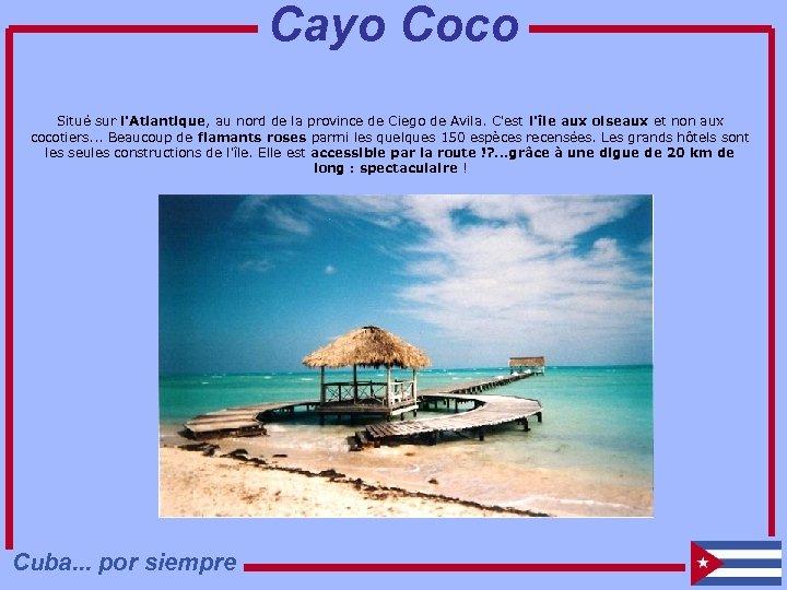 Cayo Coco Situé sur l'Atlantique, au nord de la province de Ciego de Avila.