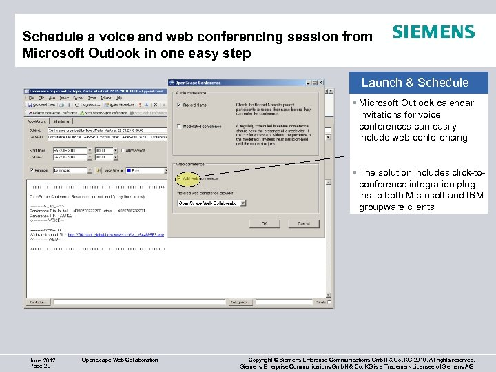 Schedule a voice and web conferencing session from Microsoft Outlook in one easy step