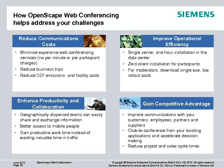 How Open. Scape Web Conferencing helps address your challenges Reduce Communications Costs § Minimize