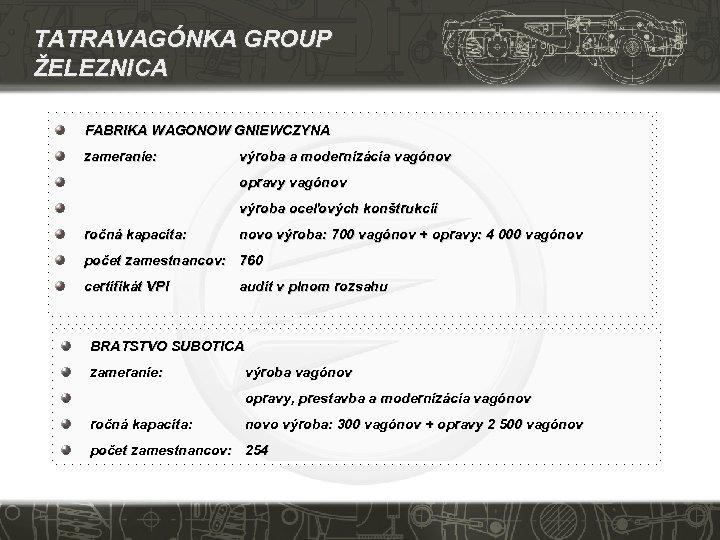 TATRAVAGÓNKA GROUP ŽELEZNICA FABRIKA WAGONOW GNIEWCZYNA zameranie: výroba a modernizácia vagónov opravy vagónov výroba