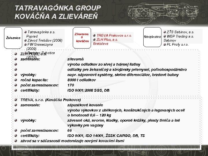 TATRAVAGÓNKA GROUP KOVÁČŇA A ZLIEVÁREŇ Tatravagónka a. s. Poprad Železnica Závod Trebišov (2008) FW