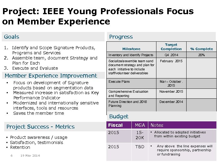 Project: IEEE Young Professionals Focus on Member Experience Progress Goals 1. Identify and Scope