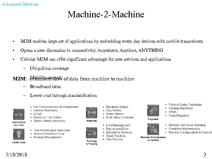Advanced Services Machine-2 -Machine • M 2 M enables large set of applications by
