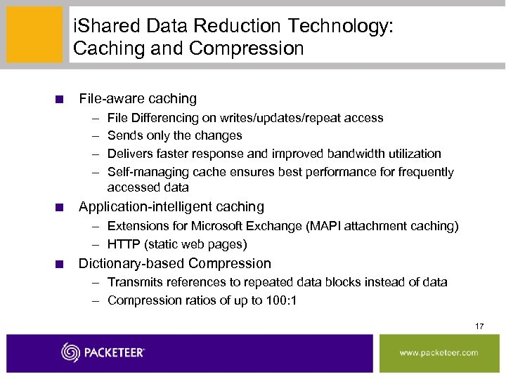 i. Shared Data Reduction Technology: Caching and Compression ■ File-aware caching – – File