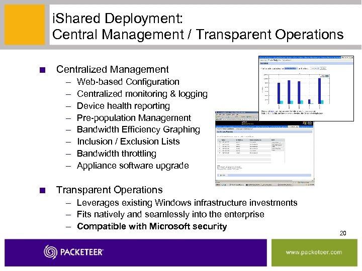 i. Shared Deployment: Central Management / Transparent Operations ■ Centralized Management – – –