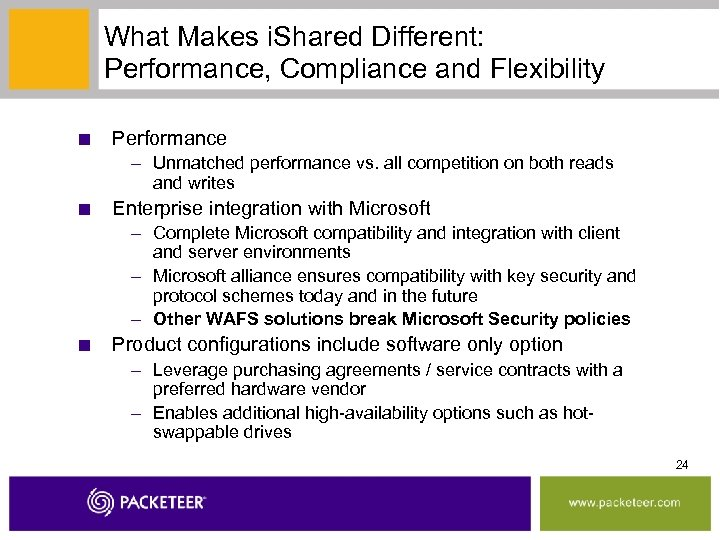 What Makes i. Shared Different: Performance, Compliance and Flexibility ■ Performance – Unmatched performance