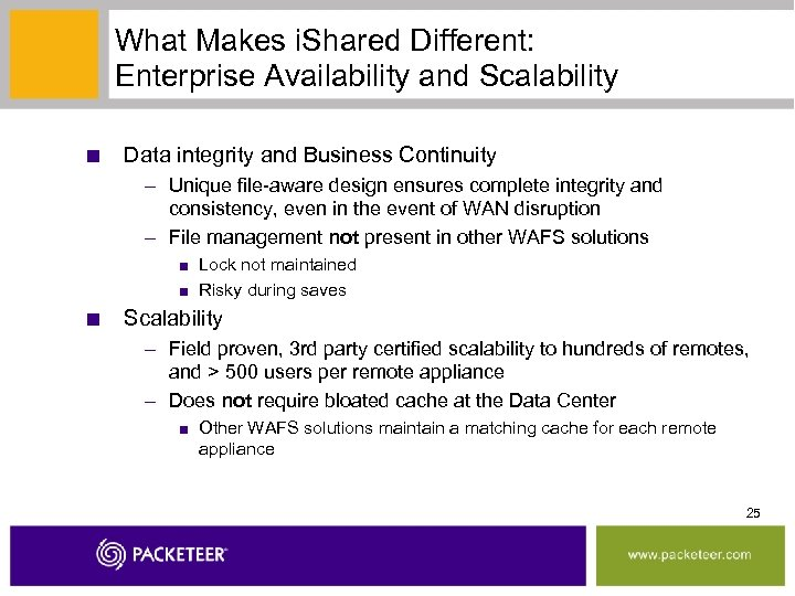 What Makes i. Shared Different: Enterprise Availability and Scalability ■ Data integrity and Business