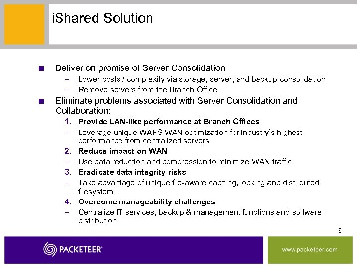 i. Shared Solution ■ Deliver on promise of Server Consolidation – – ■ Lower