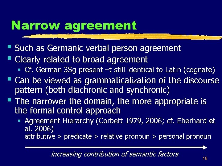 Narrow agreement § Such as Germanic verbal person agreement § Clearly related to broad