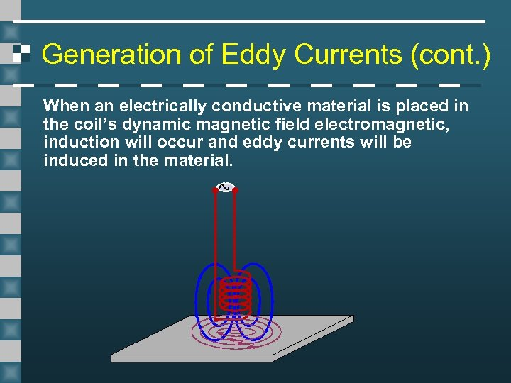 Generation of Eddy Currents (cont. ) When an electrically conductive material is placed in