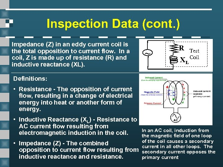 Inspection Data (cont. ) Impedance (Z) in an eddy current coil is the total