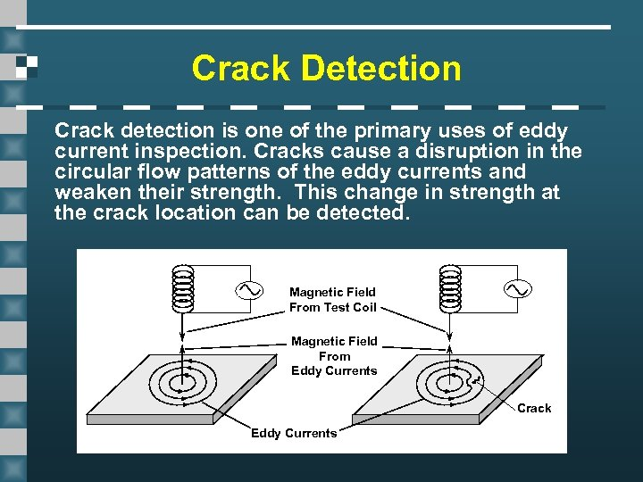 Crack Detection Crack detection is one of the primary uses of eddy current inspection.