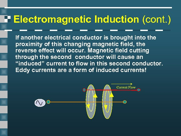 Electromagnetic Induction (cont. ) If another electrical conductor is brought into the proximity of