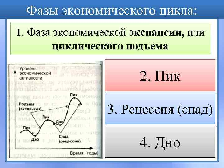 Фазы экономического цикла: 1. Фаза экономической экспансии, или циклического подъема 2. Пик 3. Рецессия