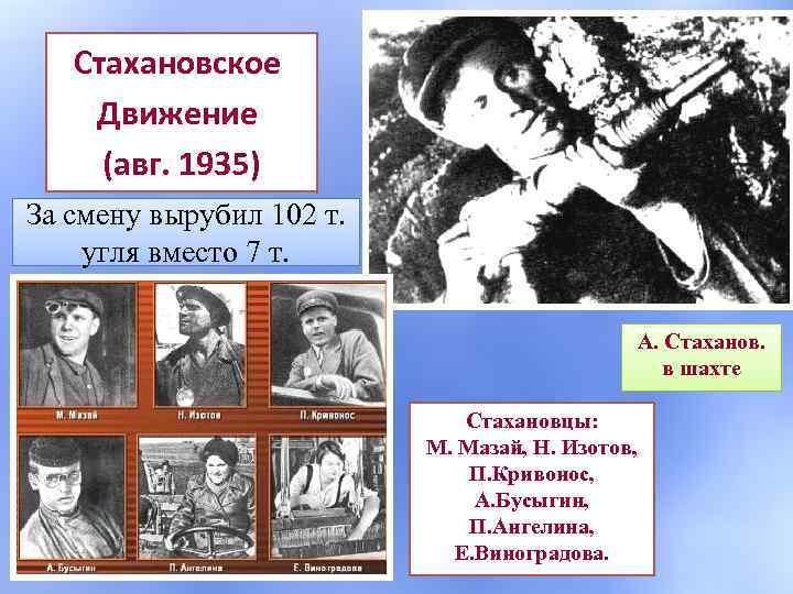 Стахановское Движение (авг. 1935) За смену вырубил 102 т. угля вместо 7 т. А.