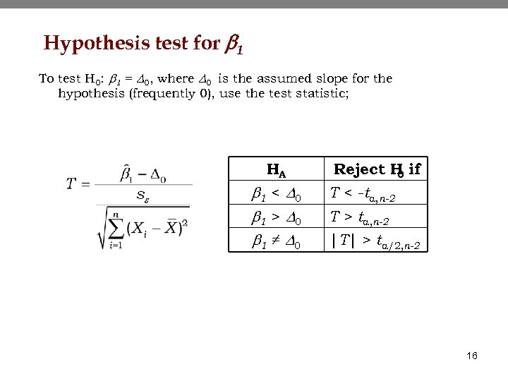 Hypothesis test for b 1 To test H 0: b 1 = D 0,