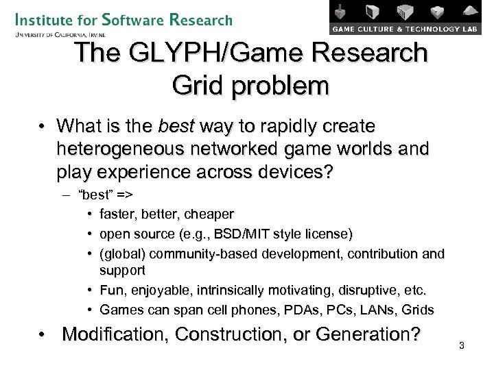 The GLYPH/Game Research Grid problem • What is the best way to rapidly create