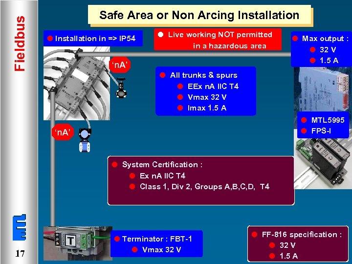 Fieldbus Safe Area or Non Arcing Installation l Installation in => IP 54 l