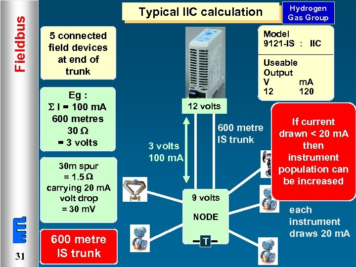 Fieldbus Model 9121 -IS : IIC 5 connected field devices at end of trunk