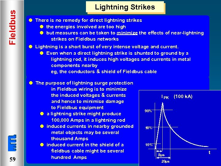 Fieldbus Lightning Strikes l There is no remedy for direct lightning strikes l the