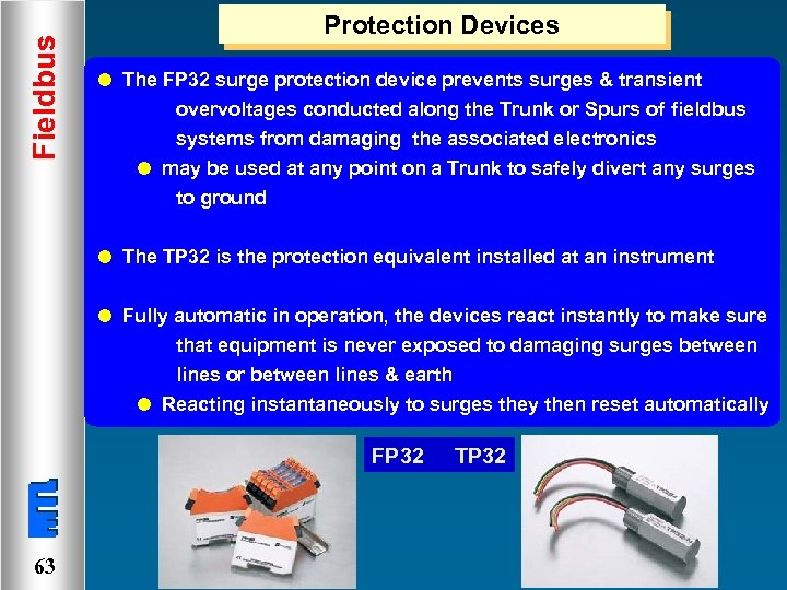 Fieldbus Protection Devices l The FP 32 surge protection device prevents surges & transient