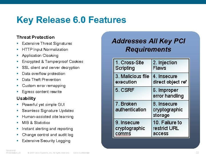 Key Release 6. 0 Features Threat Protection § § § § § Addresses All