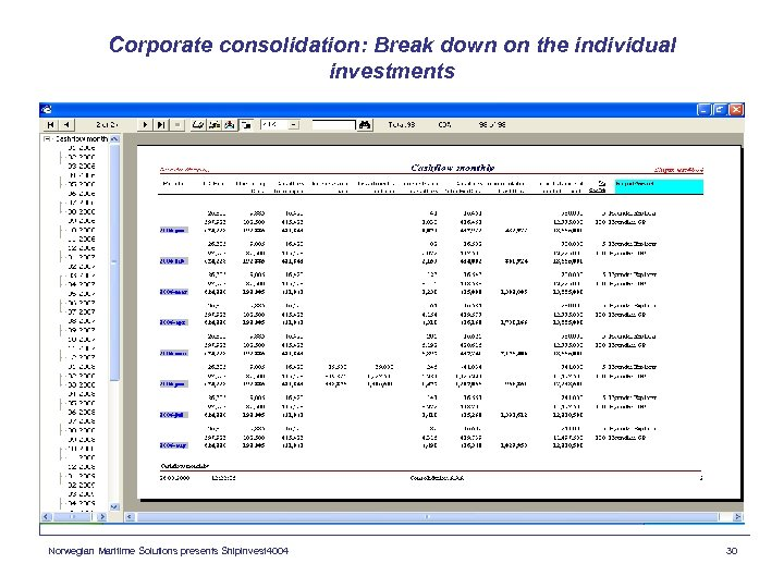 Corporate consolidation: Break down on the individual investments Norwegian Maritime Solutions presents Shipinvest 4004