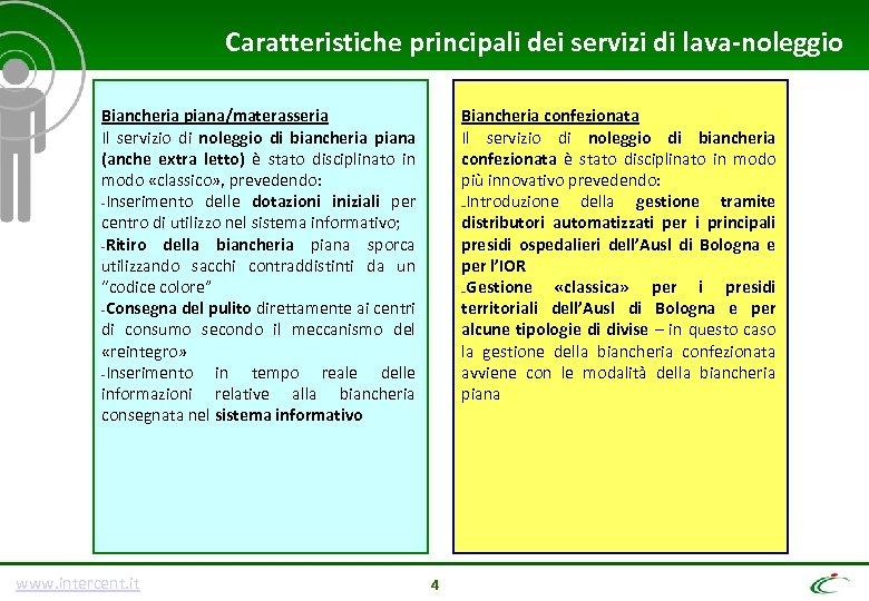 Caratteristiche principali dei servizi di lava-noleggio Biancheria piana/materasseria Il servizio di noleggio di biancheria