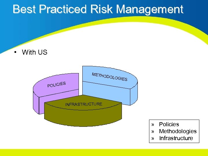 Best Practiced Risk Management • With US METHO DOLOG IES POLIC INFRASTRUCTURE » Policies