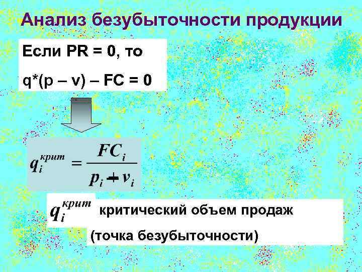 Анализ безубыточности продукции Если PR = 0, то q*(p – v) – FC =