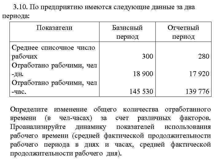 3. 10. По предприятию имеются следующие данные за два периода: Показатели Среднее списочное число
