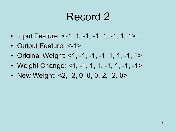 Record 2 • • • Input Feature: <-1, 1, 1> Output Feature: <-1> Original