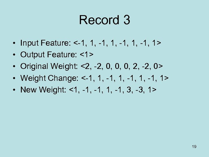 Record 3 • • • Input Feature: <-1, 1, -1, 1> Output Feature: <1>