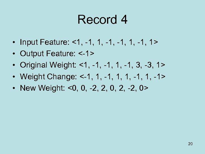 Record 4 • • • Input Feature: <1, -1, 1> Output Feature: <-1> Original