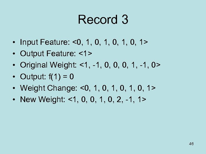 Record 3 • • • Input Feature: <0, 1, 0, 1> Output Feature: <1>