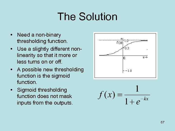 The Solution • Need a non-binary thresholding function. • Use a slightly different nonlinearity