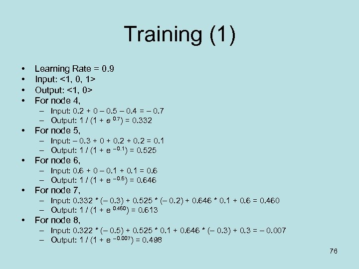 Training (1) • • Learning Rate = 0. 9 Input: <1, 0, 1> Output: