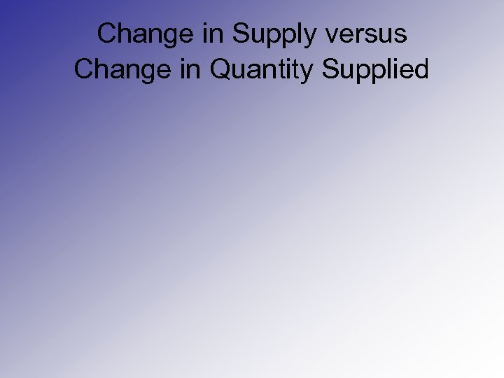 Change in Supply versus Change in Quantity Supplied