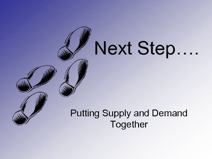 Next Step…. Putting Supply and Demand Together