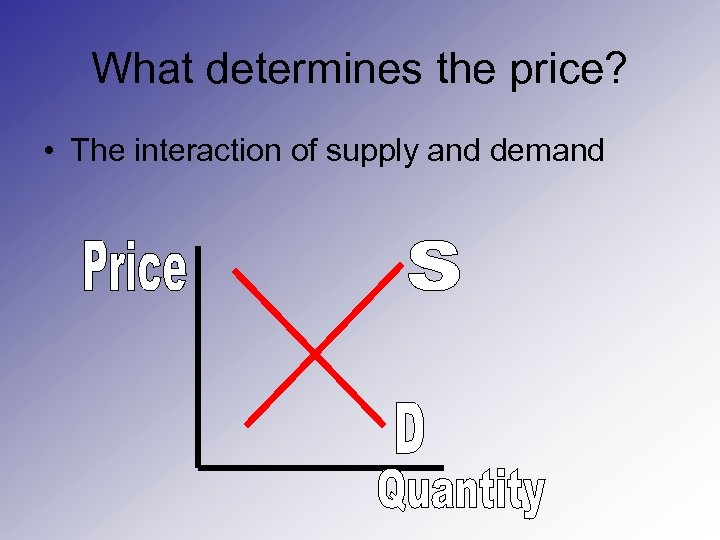 What determines the price? • The interaction of supply and demand