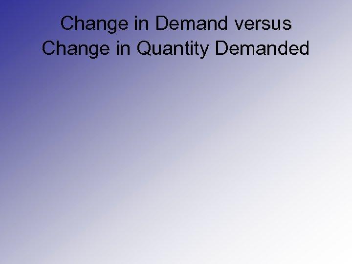 Change in Demand versus Change in Quantity Demanded
